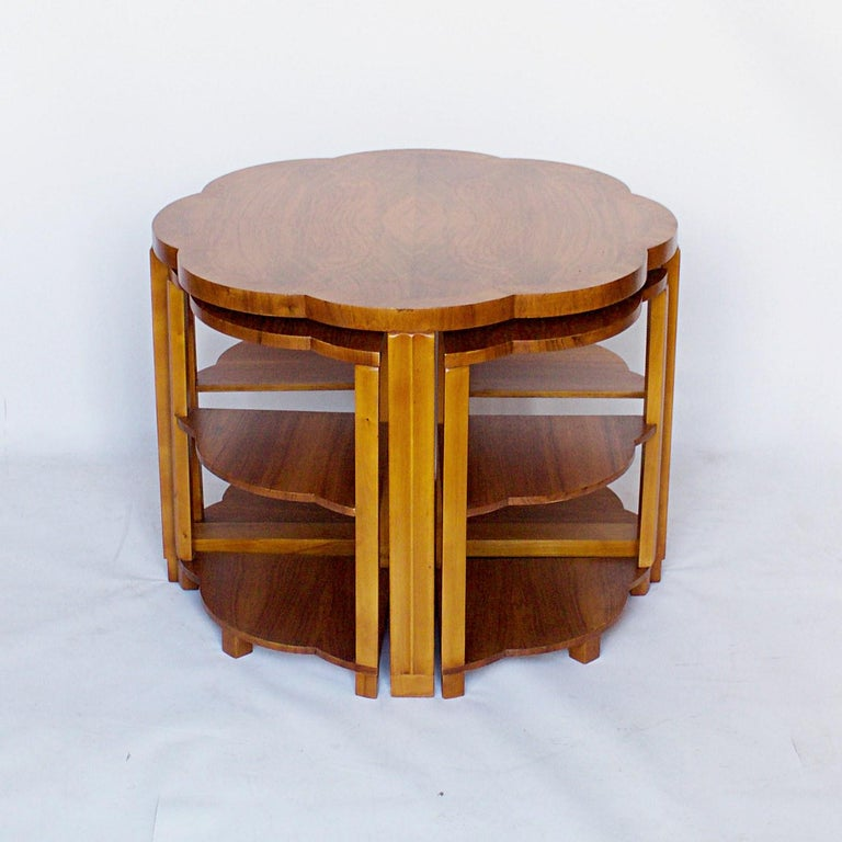 English Art Deco Nest of Tables by Harry & Lou Epstein Burr Walnut, circa 1930 For Sale