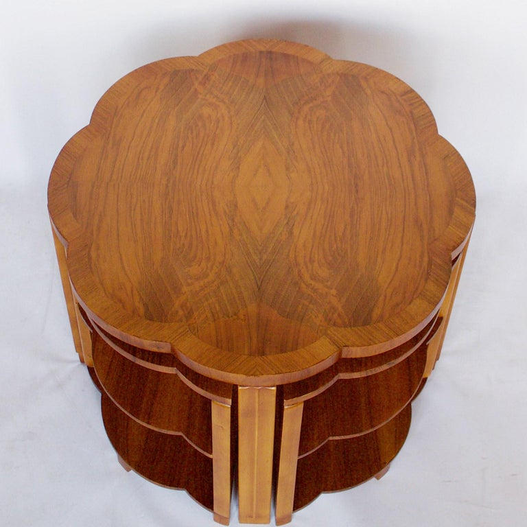 Mid-20th Century Art Deco Nest of Tables by Harry & Lou Epstein Burr Walnut, circa 1930 For Sale