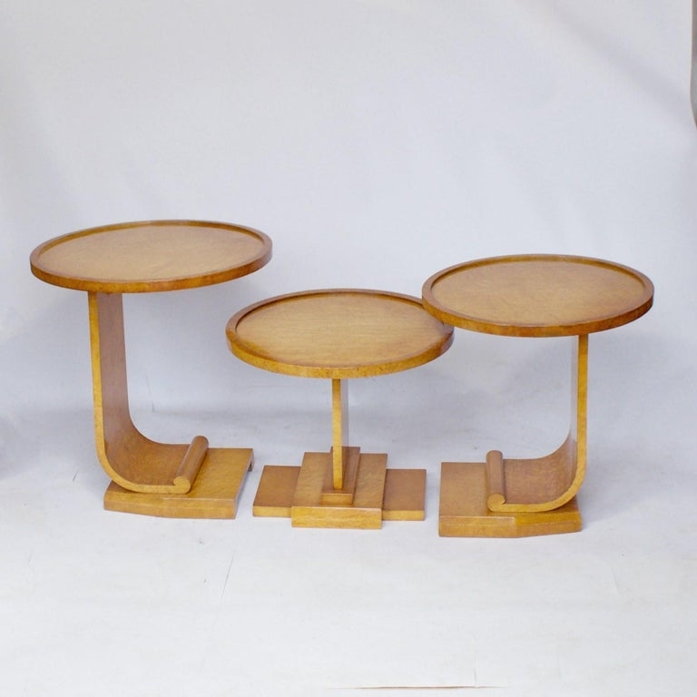 Art Deco Nest of Tables by Hille, Bird's-Eye Maple and Walnut, circa 1930 6