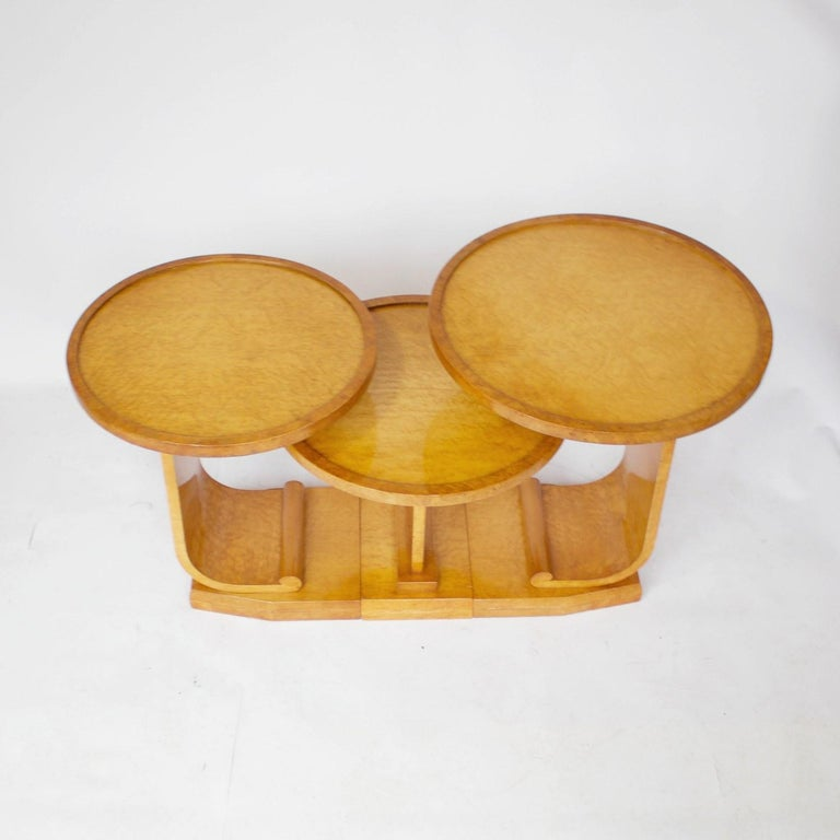 English Art Deco Nest of Tables by Hille, Bird's-Eye Maple and Walnut, circa 1930