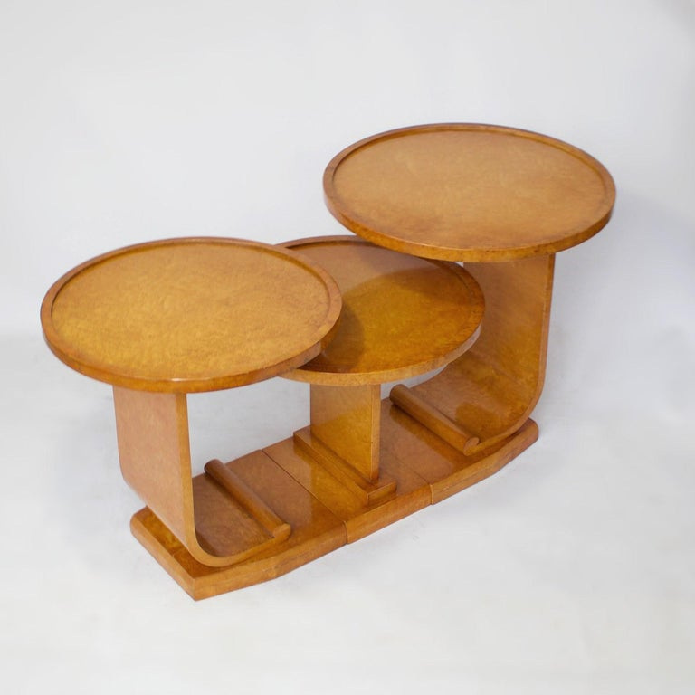Birdseye Maple Art Deco Nest of Tables by Hille, Bird's-Eye Maple and Walnut, circa 1930