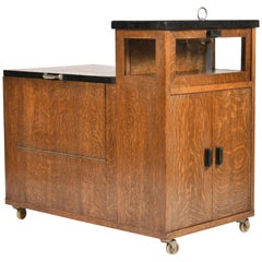 Art Deco Oak Drinks Trolley