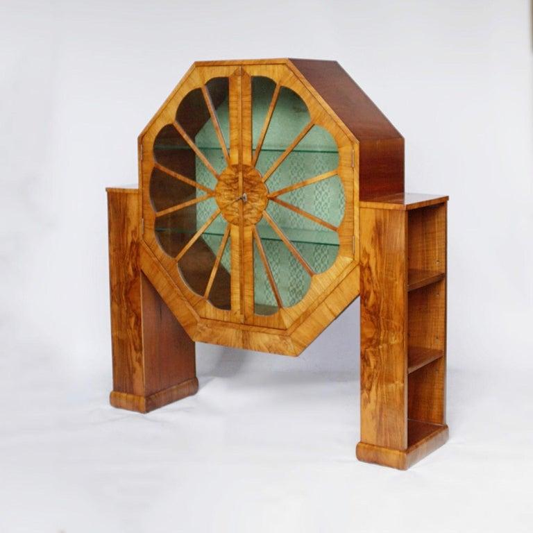Art Deco Octagonal Display Cabinet Burr Walnut veneered. English, Circa 1935 For Sale 2