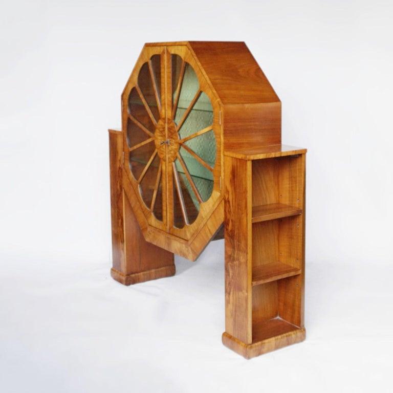Art Deco Octagonal Display Cabinet Burr Walnut veneered. English, Circa 1935 For Sale 3