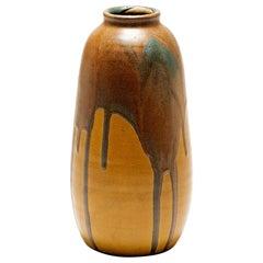 Art Deco Polychrome Glazed Ceramic Vase by Leon Pointu