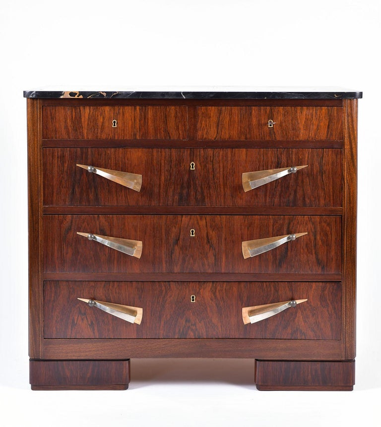 Art Deco Rosewood and Portoro Marble-Top Chest of Drawers 4