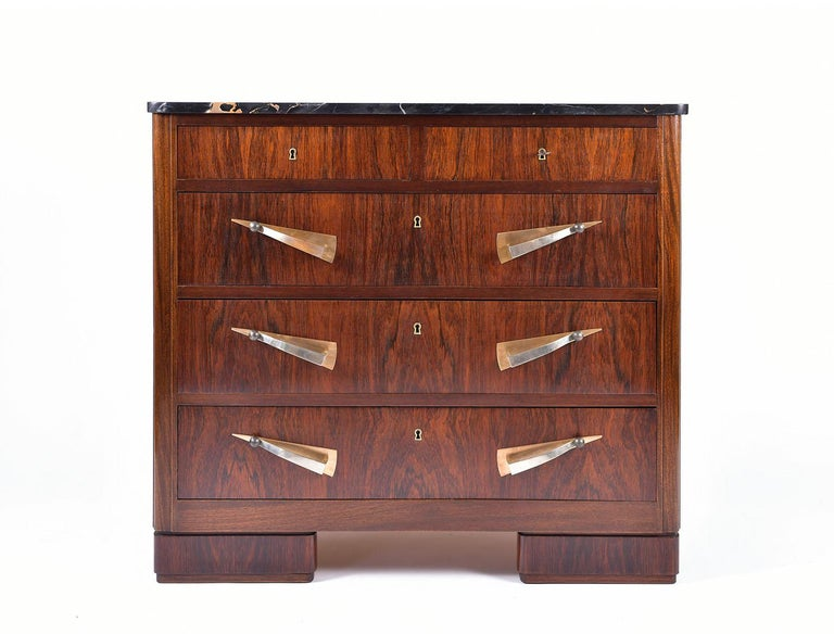 French Art Deco Rosewood and Portoro Marble-Top Chest of Drawers