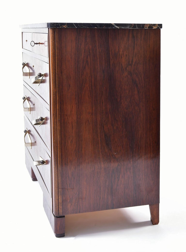 Art Deco Rosewood and Portoro Marble-Top Chest of Drawers In Good Condition In London, GB