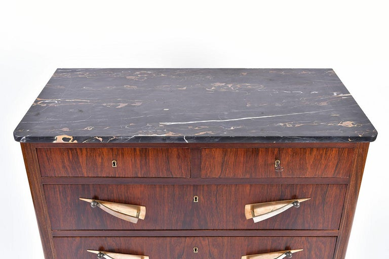 Early 20th Century Art Deco Rosewood and Portoro Marble-Top Chest of Drawers