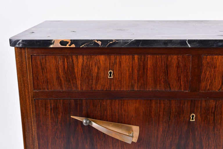 Art Deco Rosewood and Portoro Marble-Top Chest of Drawers 1