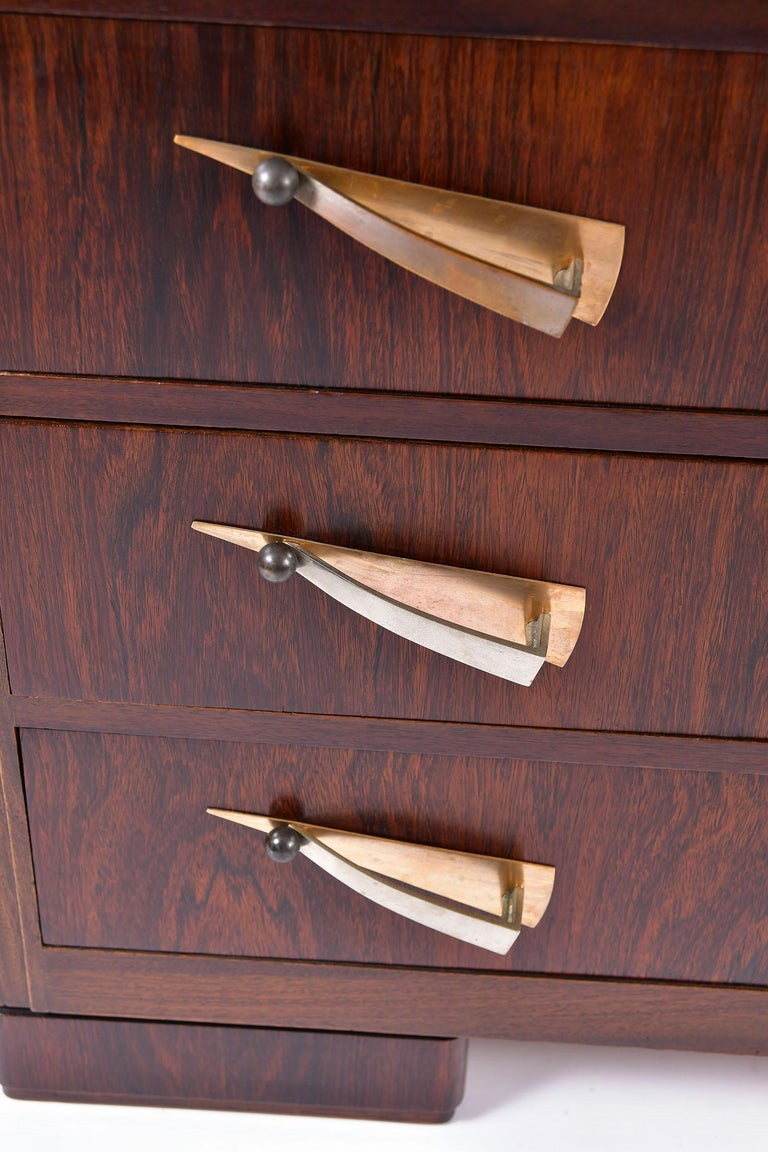 Art Deco Rosewood and Portoro Marble-Top Chest of Drawers 2