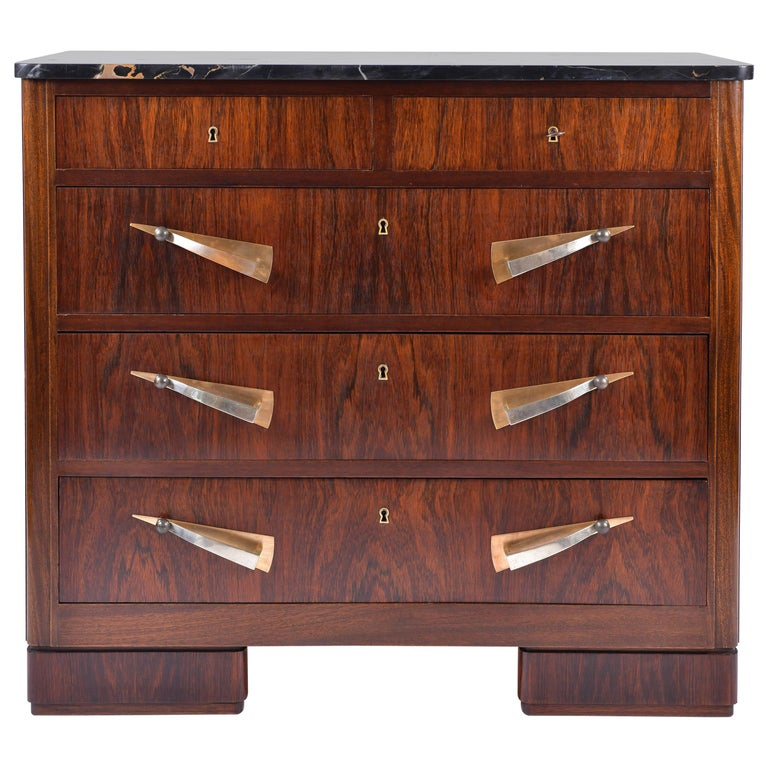 Art Deco Rosewood and Portoro Marble-Top Chest of Drawers