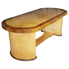 Art Deco Satin Birch and Walnut Dining/Centre Table English, circa 1935
