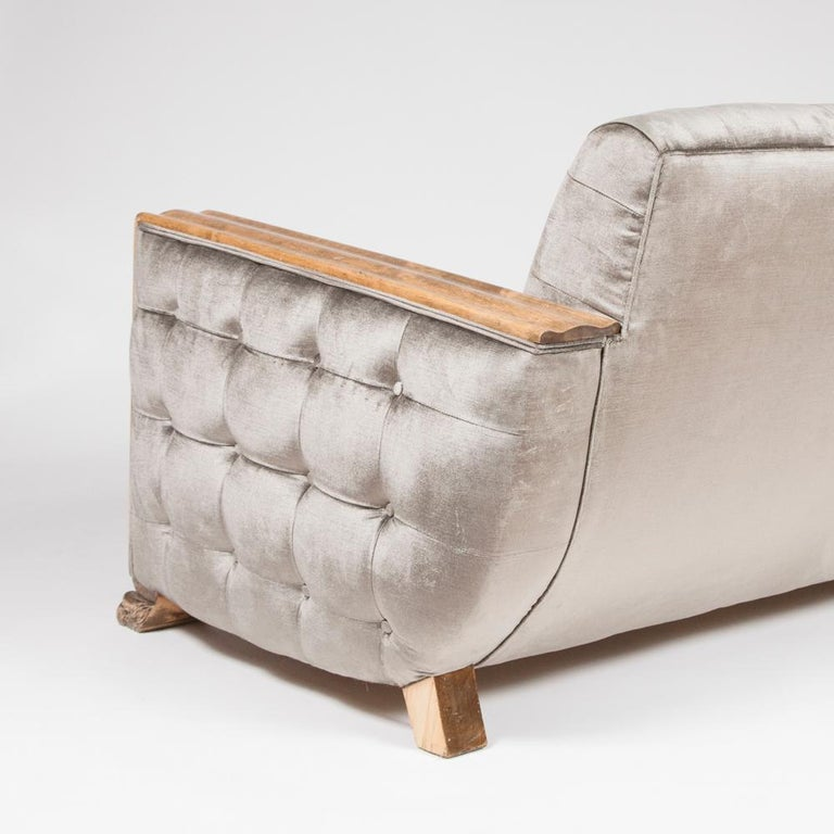 Swedish Art Deco Satin Birch Sofa with Fluted Arms & Paw Feet For Sale
