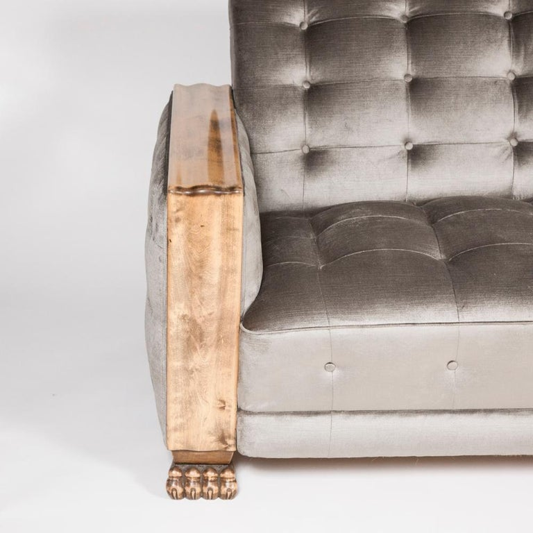 20th Century Art Deco Satin Birch Sofa with Fluted Arms & Paw Feet For Sale