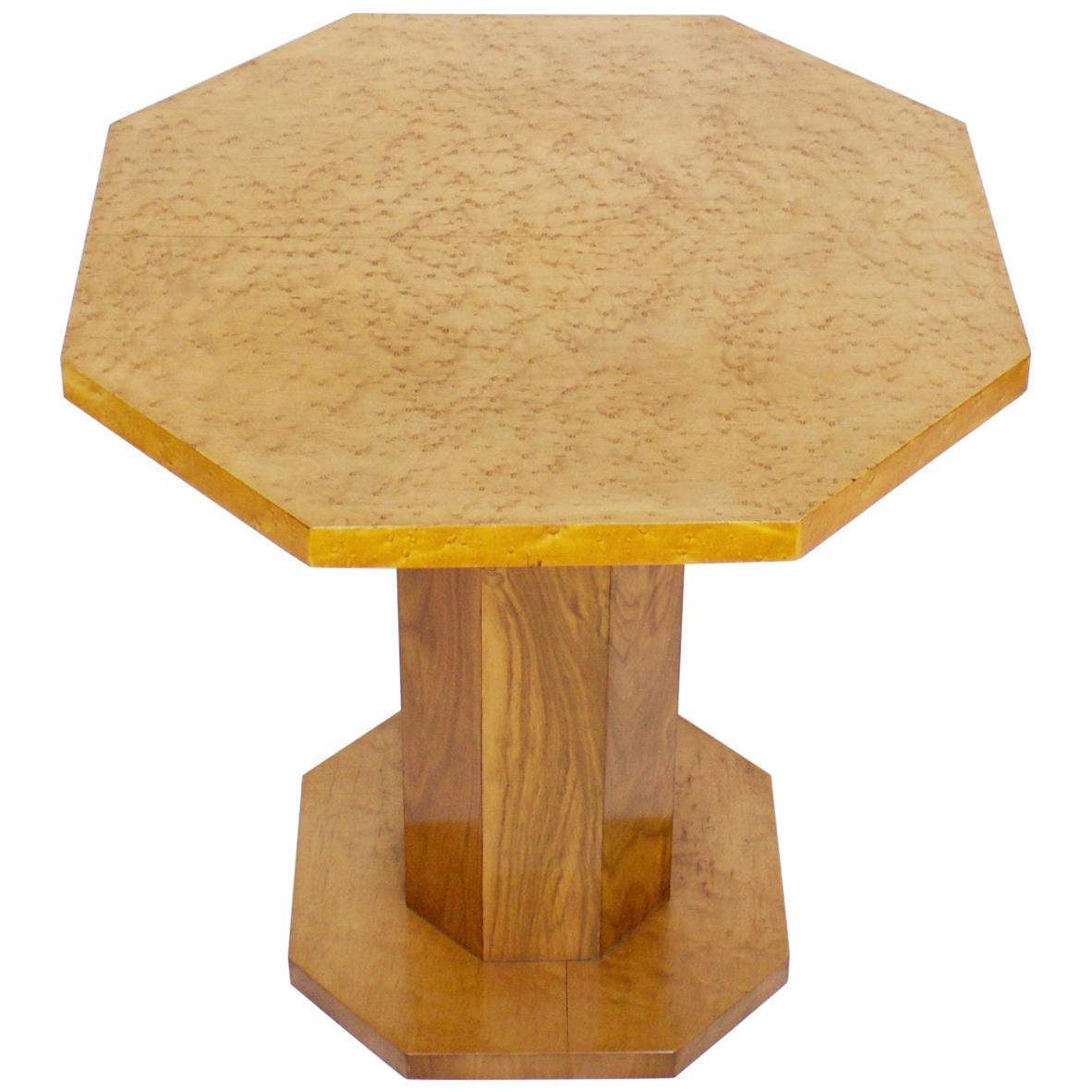 Art Deco Side Table with Birdseye Maple and Burr Walnut Veneers
