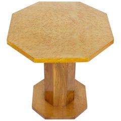 Art Deco Side Table with Birdseye Maple and Burr Walnut Veneers