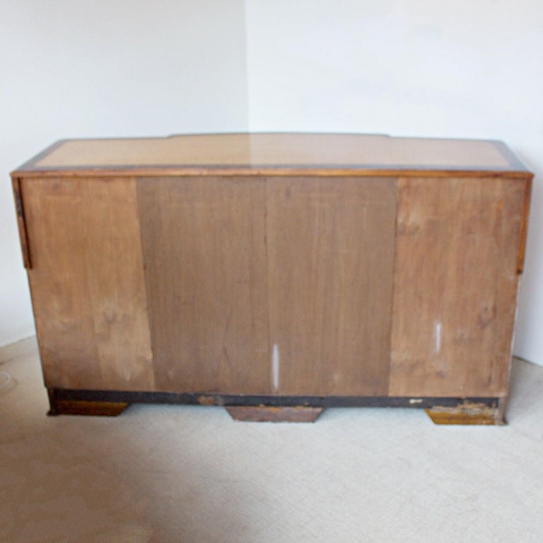 Art Deco Sideboard with Satin Birch Veneers and Original Bakelite Handles For Sale 5