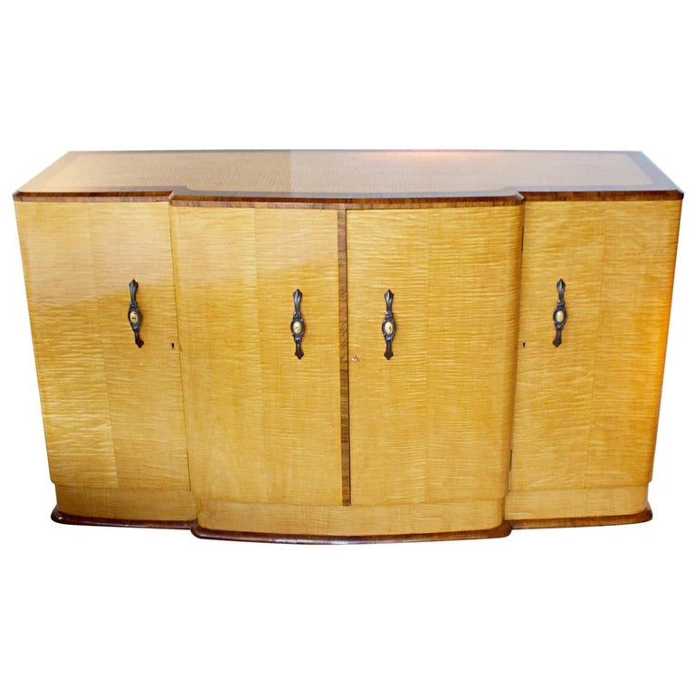 Art Deco Sideboard with Satin Birch Veneers and Original Bakelite Handles For Sale