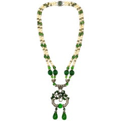An Art Deco silver, paste and emerald glass sautoir necklace, France, 1920s
