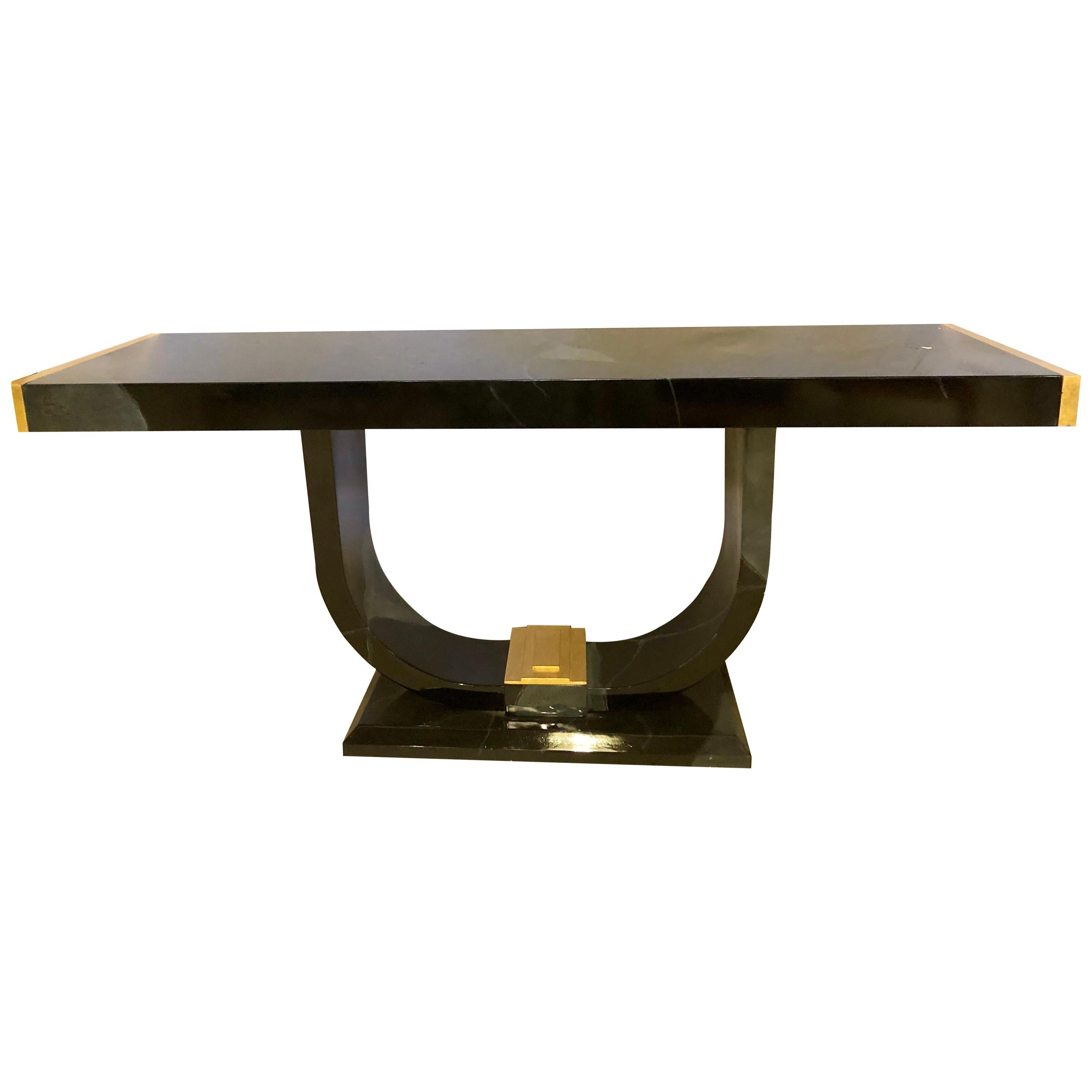 Art Deco Style Ebony and Gold Console, Serving Table