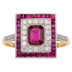 Art Deco Style Ruby and Diamond Square Cluster Ring