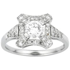 An Art Deco Style Square Cluster Diamond Ring