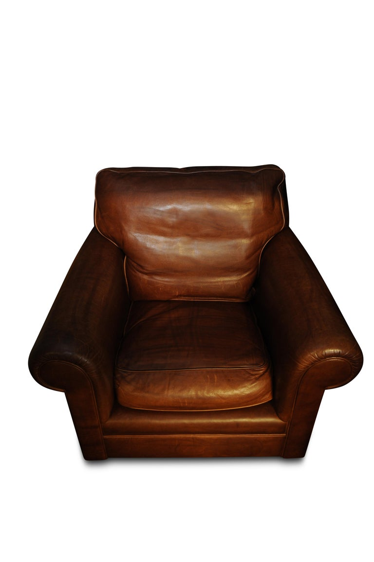 Art Deco Style Tan Leather Club Chair On Turned Mahogany Bun Feet
