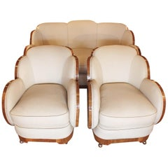 Art Deco Three-Piece Lounge Suite by Harry & Lou Epstein