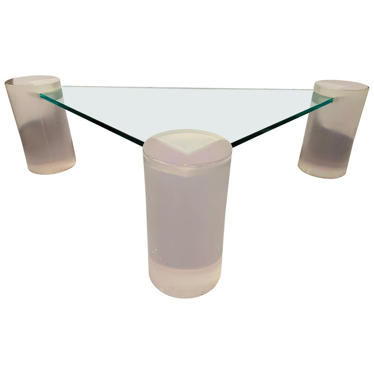 Triangle Lucite and Glass Coffee Table For Sale