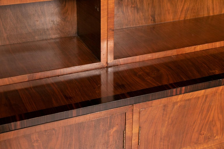 Art Deco Walnut and Macassar Bookcase with Cupboard Base and Open Shelf Top For Sale 5