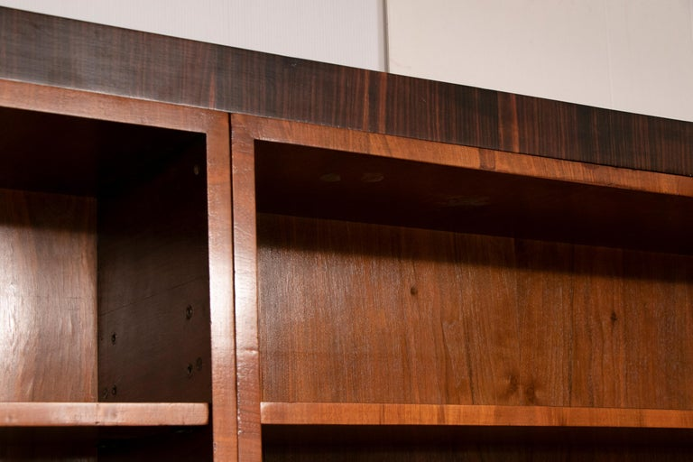 Art Deco Walnut and Macassar Bookcase with Cupboard Base and Open Shelf Top For Sale 6