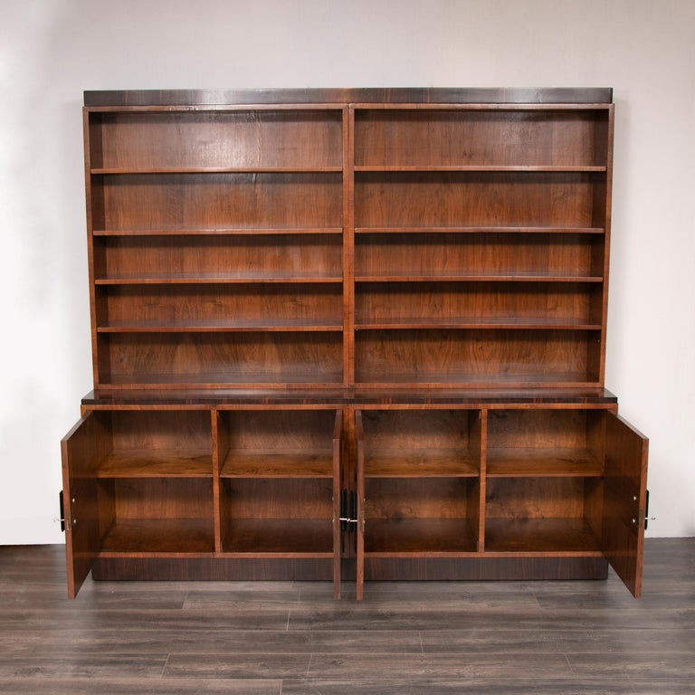 European Art Deco Walnut and Macassar Bookcase with Cupboard Base and Open Shelf Top For Sale