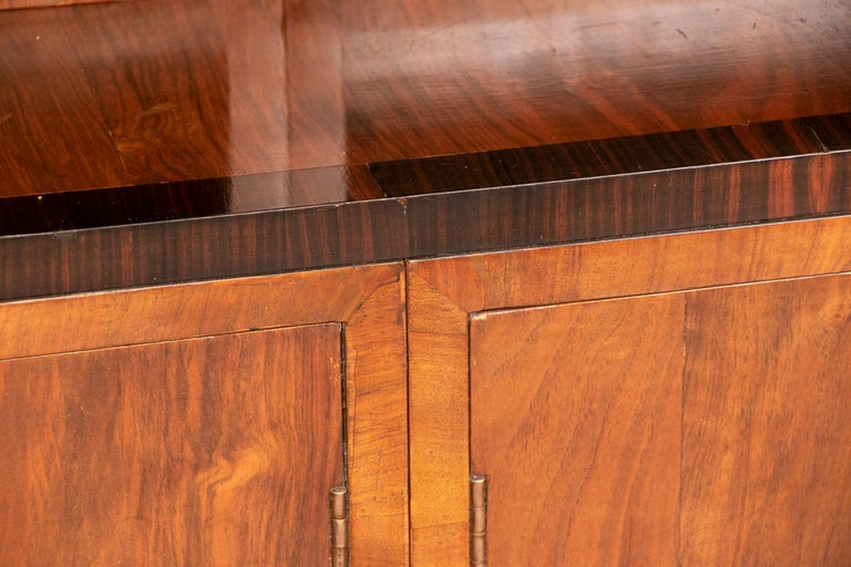 Veneer Art Deco Walnut and Macassar Bookcase with Cupboard Base and Open Shelf Top For Sale