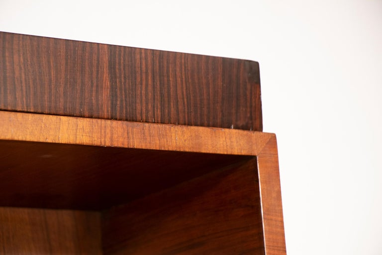 Art Deco Walnut and Macassar Bookcase with Cupboard Base and Open Shelf Top In Good Condition For Sale In Surbiton, GB