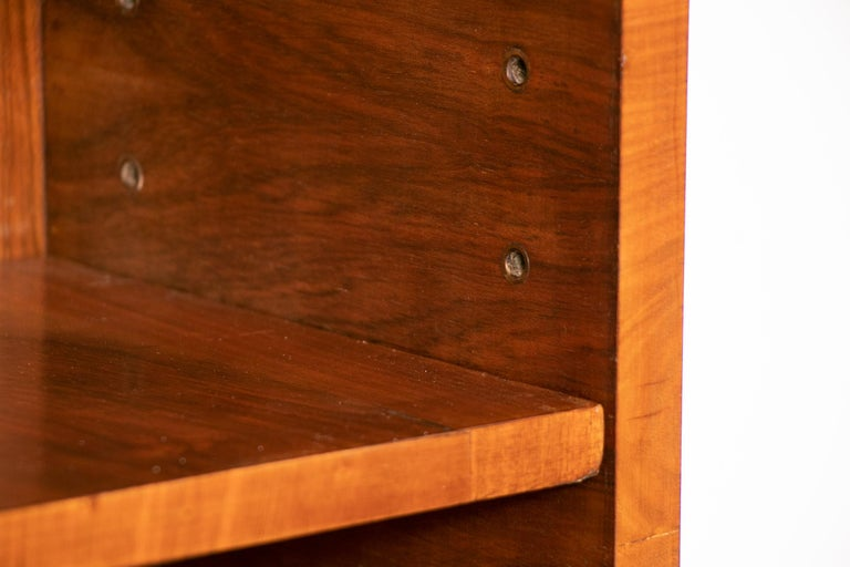 Art Deco Walnut and Macassar Bookcase with Cupboard Base and Open Shelf Top For Sale 3