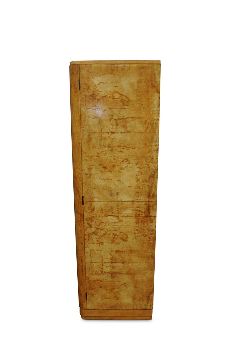 Mid-20th Century Art Deco Walnut Figured Two-Door Wardrobe or Armoire with Original Fittings For Sale