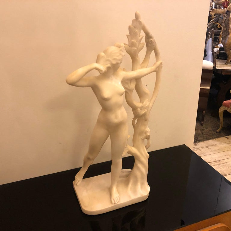 An amazing Diana statue, it's an unique piece handcrafted in Carrara, the statue has the original sticker of the shop who that sold it, this Sicilian shop closed in the 1940s.