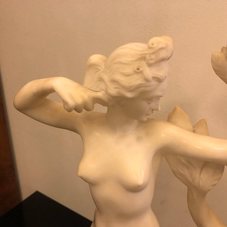 Hand-Crafted Art Deco White Marble Italian Diane Statue Unique Piece Made in 1930 For Sale