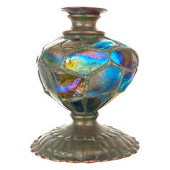 "Art Nouveau Bronze and Glass ""Turtleback Tile"" Candlestick by, Tiffany Studios"