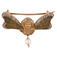 Art Nouveau Plique À Jour Enamel and Diamond Brooch, circa 1900