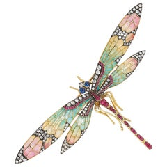 Art Nouveau, Sapphire, Diamond and Plique-a-Jour Enamel Dragonfly Brooch