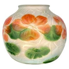 Art Nouveau Tiffany Favrile Wheel-Carved Nasturtium Vase by, Tiffany Studios
