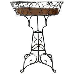 Art Nouveau Wrought Iron Plant Table with Copper Tray, circa 1900