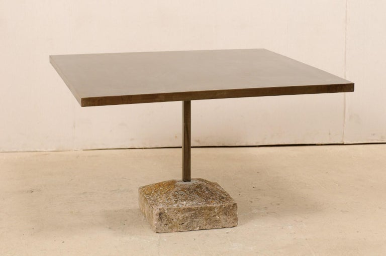 Artisan Made Custom Square Iron Top Table on Stone Plinth Base For Sale 4