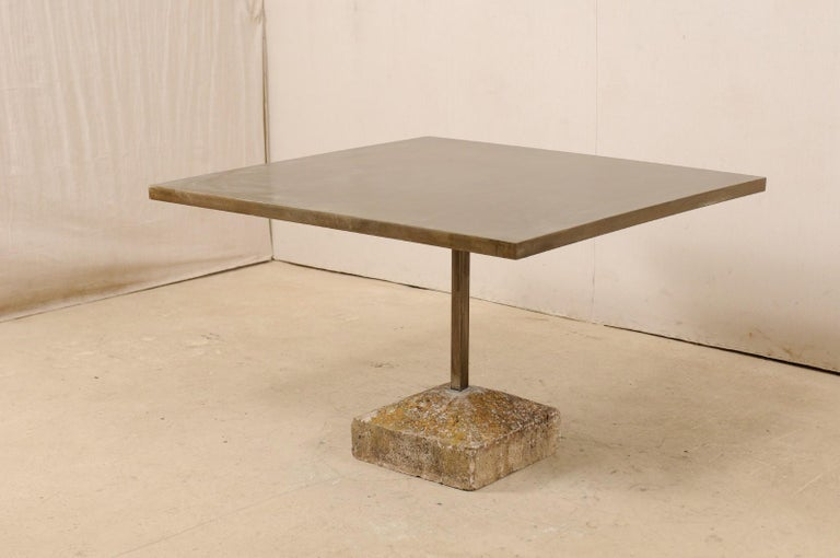Artisan Made Custom Square Iron Top Table on Stone Plinth Base For Sale 5
