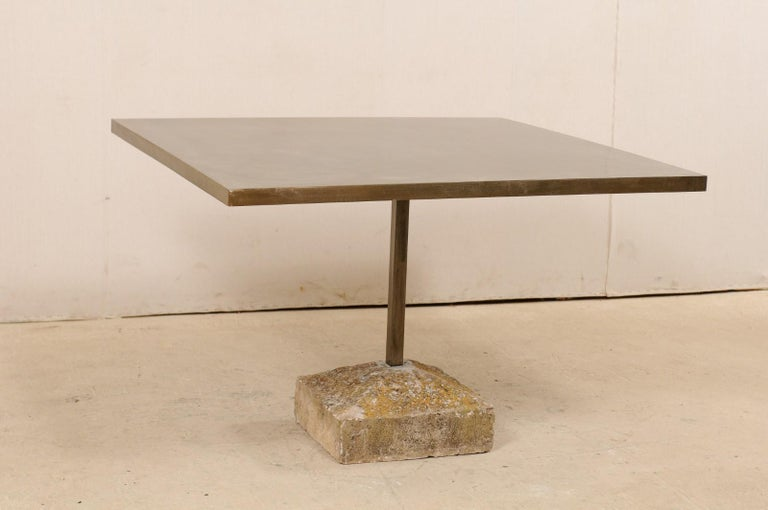 Spanish Artisan Made Custom Square Iron Top Table on Stone Plinth Base For Sale