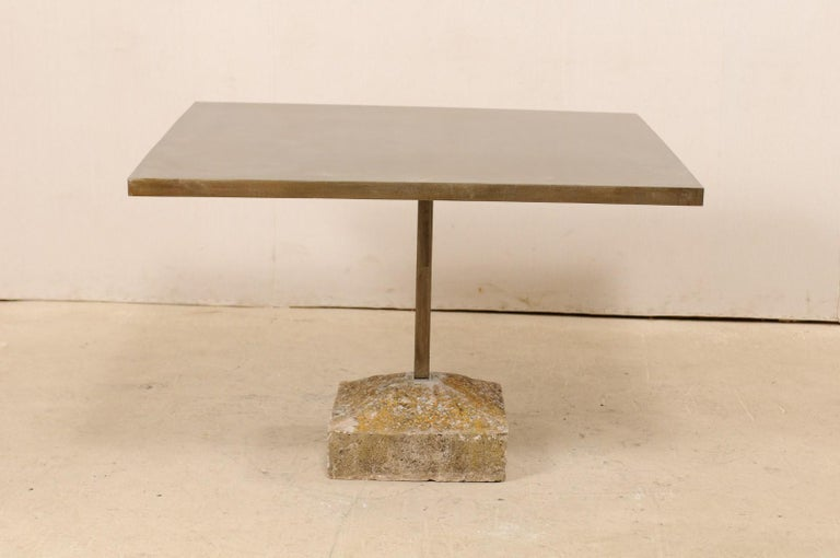 Hand-Carved Artisan Made Custom Square Iron Top Table on Stone Plinth Base For Sale