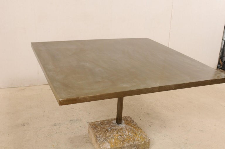 Artisan Made Custom Square Iron Top Table on Stone Plinth Base In Good Condition For Sale In Atlanta, GA