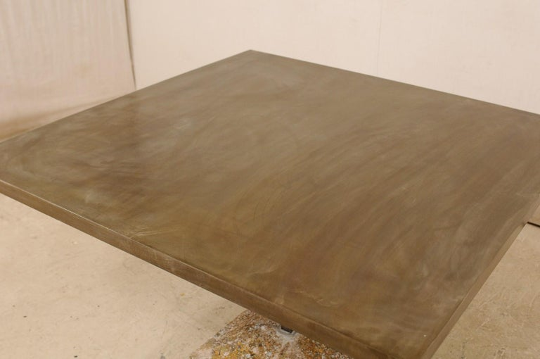 Contemporary Artisan Made Custom Square Iron Top Table on Stone Plinth Base For Sale